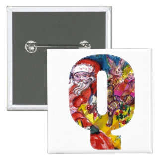 CHRISTMAS Q LETTER  / SANTA  WITH GIFTS MONOGRAM BUTTON
