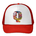 CHRISTMAS Q LETTER  / SANTA  WITH GIFTS MONOGRAM TRUCKER HATS