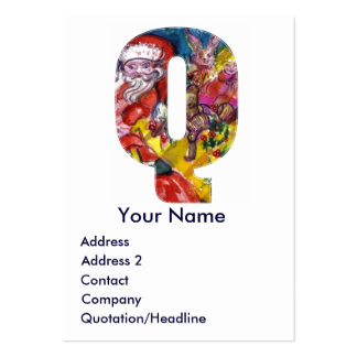 CHRISTMAS Q LETTER / SANTA WITH GIFTS MONOGRAM LARGE BUSINESS CARD