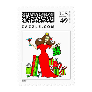 Christmas Queen Postage Stamp