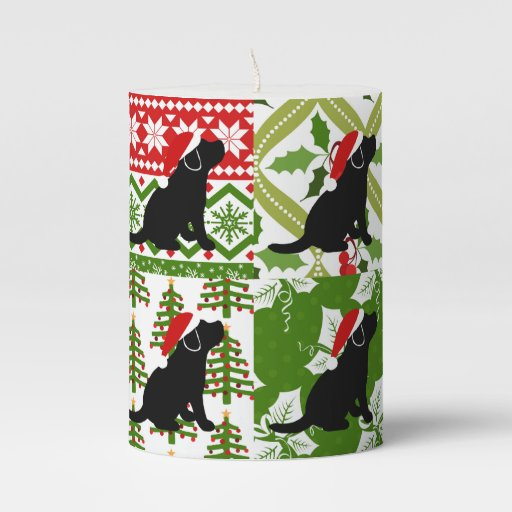 Christmas Quilt Black Labrador Puppies Candle