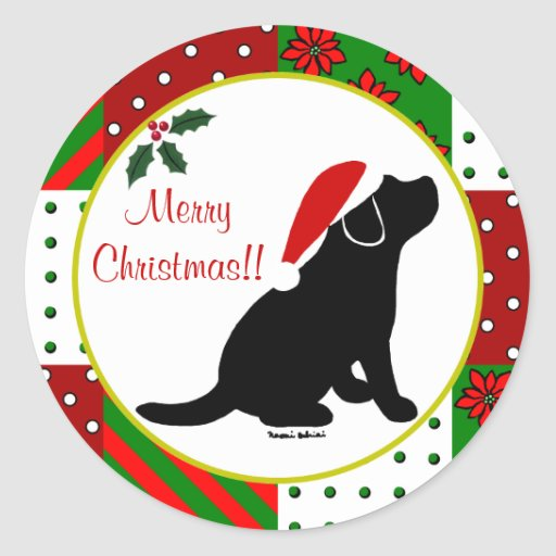 Christmas Quilt Black Labrador Puppy Classic Round Sticker