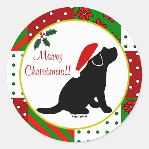 Christmas Quilt Black Labrador Puppy Classic Round Sticker
