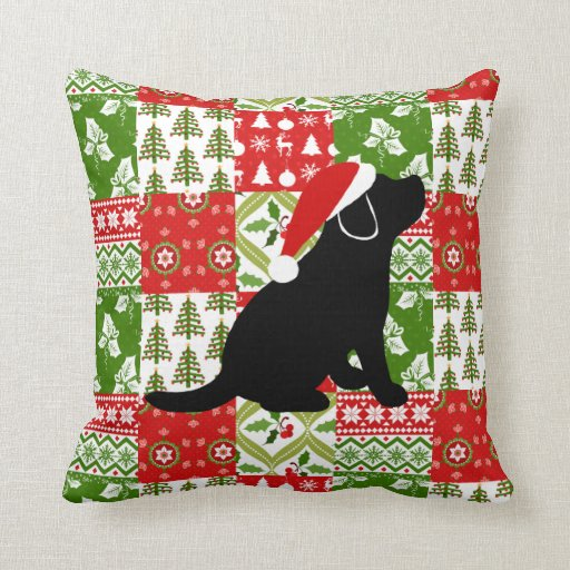 Christmas Quilt Black Labrador Puppy Pillow