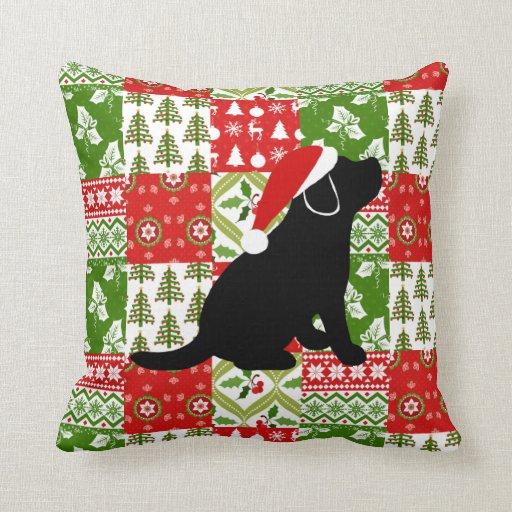 Christmas Quilt Black Labrador Puppy Pillow