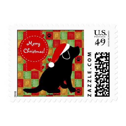 Christmas Quilt Black Labrador Puppy Postage