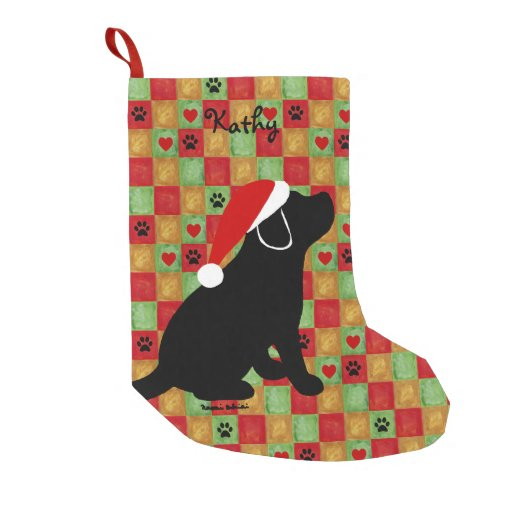 Christmas Quilt Black Labrador Puppy Small Christmas Stocking