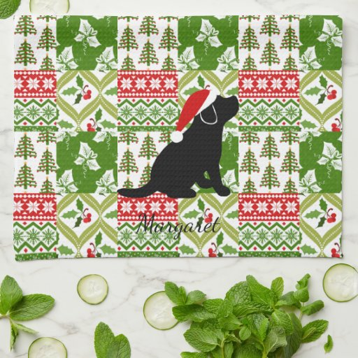 Christmas Quilt Black Labrador Puppy Towel