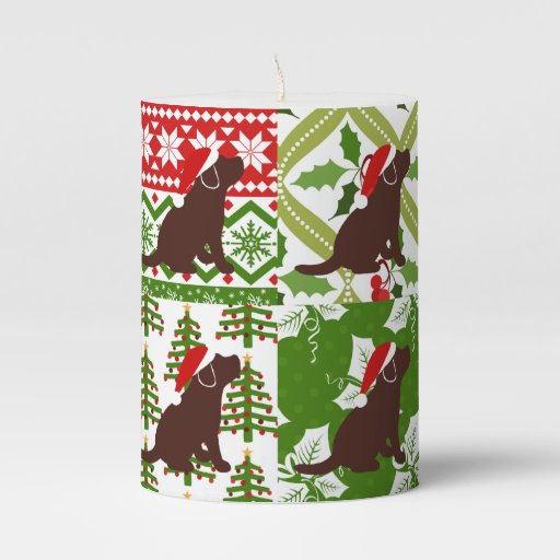 Christmas Quilt Chocolate Labrador Puppies Candle