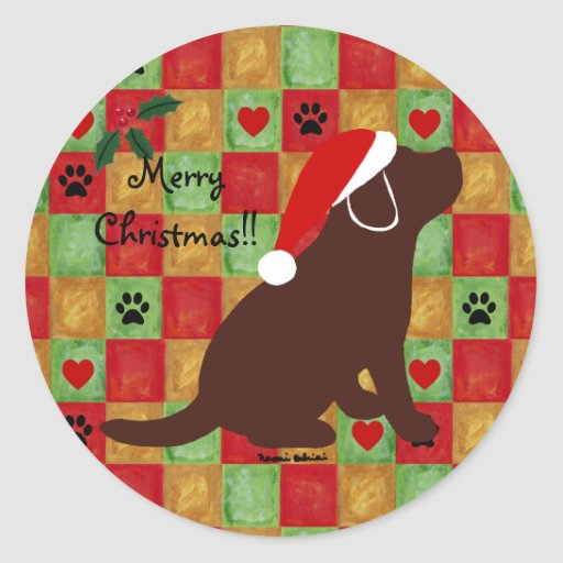 Christmas Quilt Chocolate Labrador Puppy Classic Round Sticker