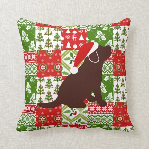 Christmas Quilt Chocolate Labrador Puppy Pillow
