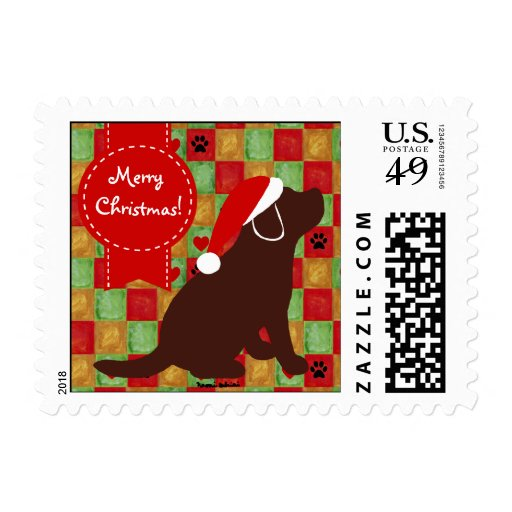 Christmas Quilt Chocolate Labrador Puppy Postage