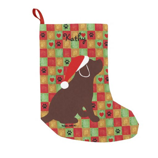 Christmas Quilt Chocolate Labrador Puppy Small Christmas Stocking