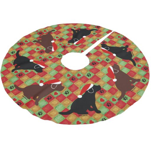 Christmas Quilt Labrador Puppies Brushed Polyester Tree Skirt