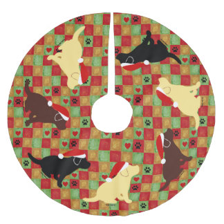 Christmas Quilt Labrador Puppies Tree Skirt