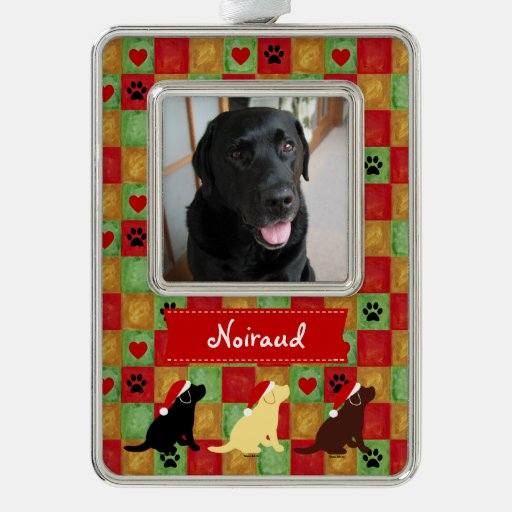 Christmas Quilt Labrador Puppies Ornament