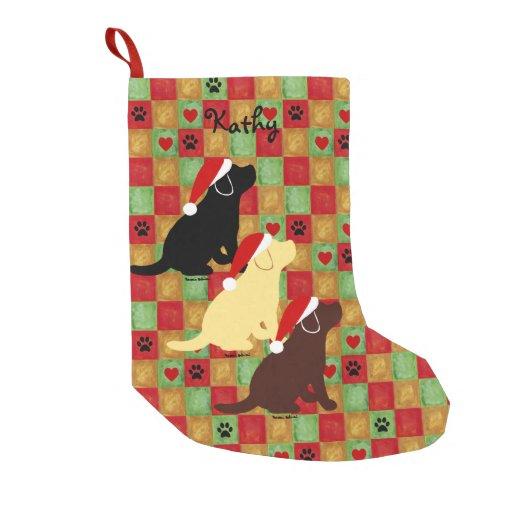 Christmas Quilt Labrador Puppies Small Christmas Stocking