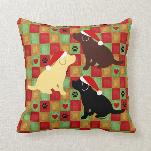 Christmas Quilt Labrador Puppy Pillow