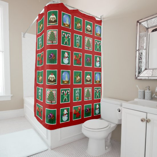 "Christmas ""Quilt"" Shower Curtain"