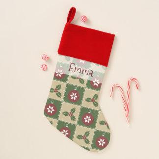 Christmas Quilt Velvet Lined Stocking