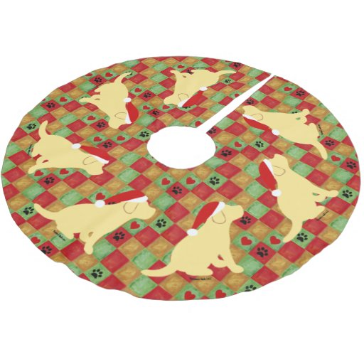 Christmas Quilt Yellow Labrador Puppies Brushed Polyester Tree Skirt