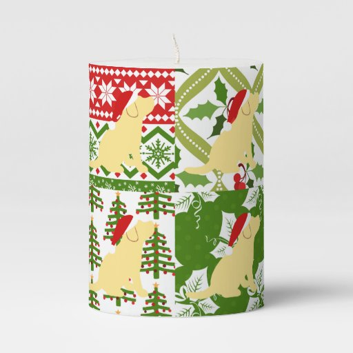 Christmas Quilt Yellow Labrador Puppies Candle