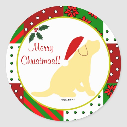 Christmas Quilt Yellow Labrador Puppy Classic Round Sticker