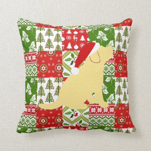 Christmas Quilt Yellow Labrador Puppy Pillow