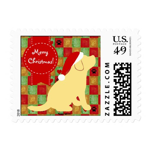 Christmas Quilt Yellow Labrador Puppy Postage