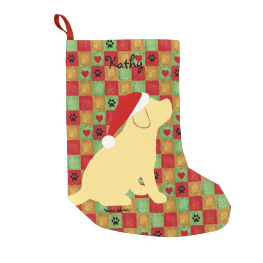 Christmas Quilt Yellow Labrador Puppy Small Christmas Stocking