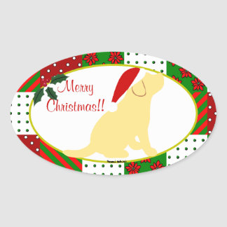 Christmas Quilt Yellow Labrador Puppy Oval Sticker