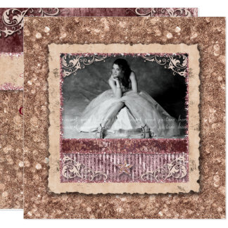 Christmas Quinceanera Grad Rose Gold Western Star Card