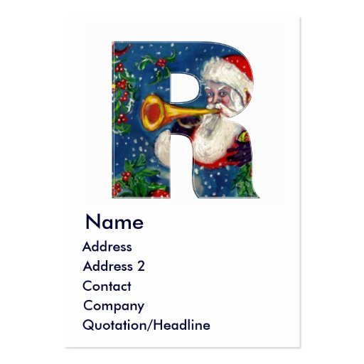 CHRISTMAS R LETTER / SANTA BUGLER MONOGRAM LARGE BUSINESS CARDS (Pack OF 100)