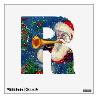 CHRISTMAS R  LETTER  / SANTA  BUGLER WALL STICKER