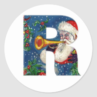 CHRISTMAS R LETTER / SANTA CLAUS BUGLER CLASSIC ROUND STICKER