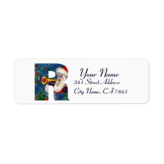CHRISTMAS R LETTER / SANTA CLAUS BUGLER RETURN ADDRESS LABEL