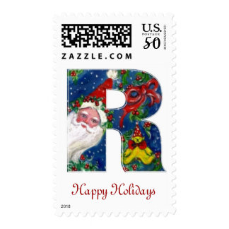 CHRISTMAS R LETTER / SANTA CLAUS WITH RED MONOGRAM POSTAGE