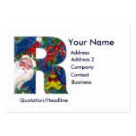 CHRISTMAS R LETTER / SANTA CLAUS WITH RED RIBBON BUSINESS CARD