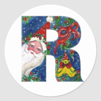 CHRISTMAS R LETTER / SANTA CLAUS WITH RED RIBBON CLASSIC ROUND STICKER
