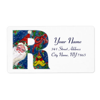 CHRISTMAS R LETTER / SANTA CLAUS WITH RED RIBBON SHIPPING LABEL