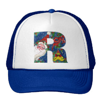 CHRISTMAS R LETTER / SANTA CLAUS WITH RED RIBBON TRUCKER HAT