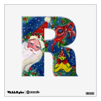 CHRISTMAS R LETTER / SANTA CLAUS WITH RED RIBBON WALL DECAL