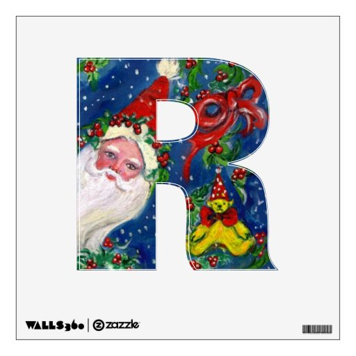 CHRISTMAS R LETTER / SANTA CLAUS WITH RED RIBBON WALL STICKER