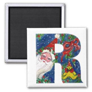 CHRISTMAS R LETTER / SANTA   RED RIBBON MONOGRAM 2 INCH SQUARE MAGNET