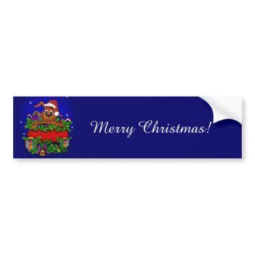 Christmas Themed Christmas Rabbit Bumper Sticker
