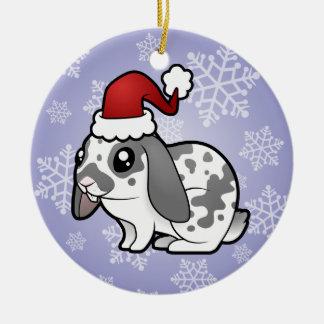 Christmas Rabbit (floppy ear smooth hair) Ceramic Ornament