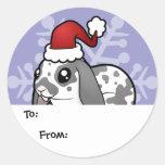 Christmas Rabbit (floppy ear smooth hair) Classic Round Sticker