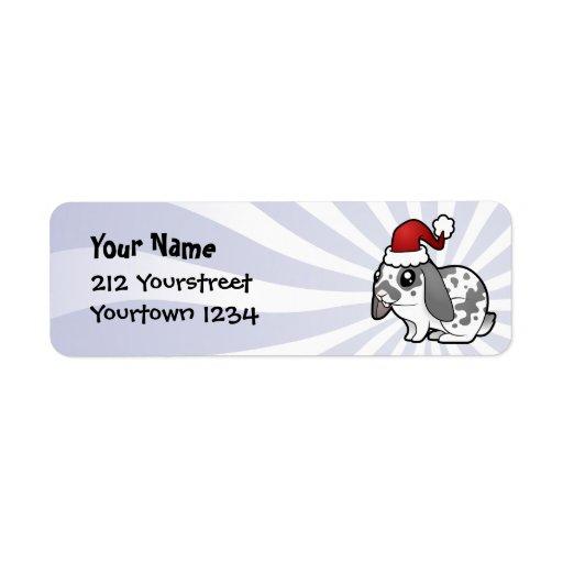 Christmas Rabbit (floppy ear smooth hair) Return Address Label
