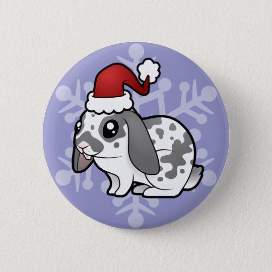 Christmas Rabbit (floppy ear smooth hair) Pinback Button