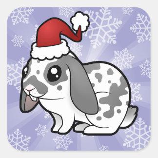 Christmas Rabbit (floppy ear smooth hair) Square Sticker